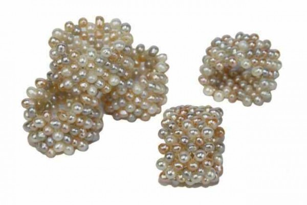 Perlen Ring Elastisch Geflochten 17mm Süßwasserzuchtperlen Multi